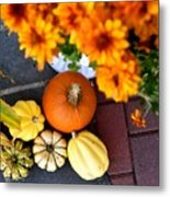 Fall Mums And Pumpkins Metal Print