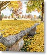 Fall Park Bench Metal Print