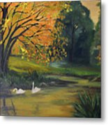 Fall Pond With Swans Metal Print