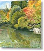 Fall Reflections Butchart Gardens Metal Print