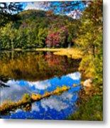 Fall Reflections On Cary Lake Metal Print