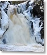 Fall River With Icicles Metal Print