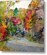 Fall Road - Watercolor Metal Print