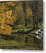 Fall Rowboat Metal Print