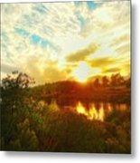 Fall Sunset At Lake Murray San Diego Metal Print