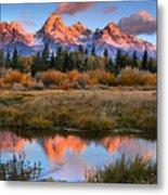 Fall Teton Tip Reflections Metal Print