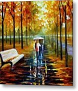 Fall  White Umbrella Metal Print