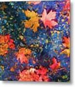 Falling Blue Leave Metal Print by Marilyn Sholin