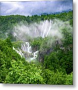 Falls Through The Fog - Plitvice Lakes National Park Croatia Metal Print