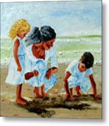 Family At The Beach Metal Print