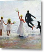 Family Beach Wedding Metal Print