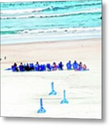 Family Day At Beach Metal Print