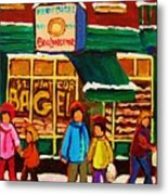 Family  Fun At St. Viateur Bagel Metal Print