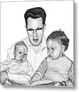 Family In Pointillism Metal Print