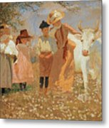 Family Group With Cow Metal Print