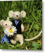 Family Mouse On The Spring Meadow .1. Metal Print