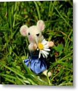 Family Mouse On The Spring Meadow Metal Print