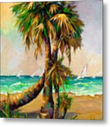 Family Of Palm Trees With Sail Boats Metal Print