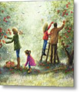 Family Picking Apples Metal Print