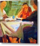 Family Talk At The Table Metal Print