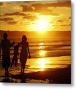 Family Walk On Beach Metal Print
