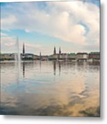 Famous Binnenalster In Hamburg Downtown At Sunset Metal Print