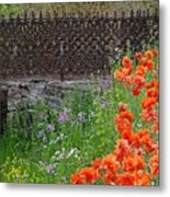 Fancy Foot Bridge And Poppies Metal Print by Stephanie Calhoun