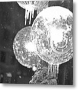 Faneuil Hall Lollypop Light Icicles Boston Ma Black And White Metal Print