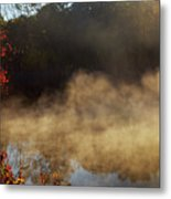 Fantastic Foggy River With Fresh Green Grass In The Sunlight. Metal Print