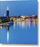 Fantastic Stockholm And Gamla Stan Reflection From A Distant Bridge Metal Print