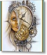Fantasy Art - Time Encaptulata For A Woman's Face, Clock, Gears And More. L A S With Ornate Frame. Metal Print
