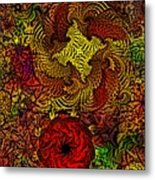 Fantasy Flowers Woodcut Metal Print