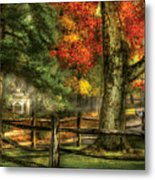 Farm - Fence - On A Country Road Metal Print