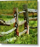 Farm - Fence - The Old Fence Post  Metal Print