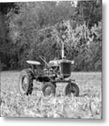 Farm All In  Corn Field Blsck And White Metal Print
