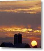 Farm At Sunset Metal Print