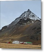 Farm At The Base Of Mt Stapafell Metal Print