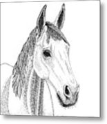 Farm Horse In Pointillism Metal Print