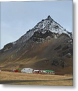 Farm Houses At The Base Of Mt Stapafell In Iceland Metal Print