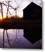 Farm Pond At Sunset Metal Print