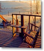Farm Porch Morning Metal Print