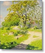 Farm Scene With Pecking Chickens Metal Print