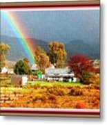 Farm Scene With Rainbow After Some Rains L A With Decorative Ornate Printed Frame. Metal Print