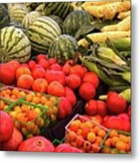 Farm To Market Produce - Melons, Corn, Tomatoes Metal Print
