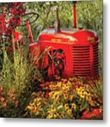 Farm - Tractor - A Pony Grazing Metal Print by Mike Savad