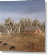 Farm With Cows  Metal Print