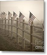 Farm With Fence And American Flags Metal Print