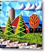 Farm With Three Pines And Cow Metal Print