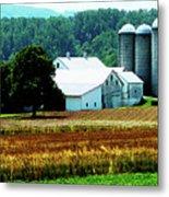 Farm With White Silos Metal Print