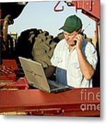 Farmer With Laptop And Cell Phone Metal Print